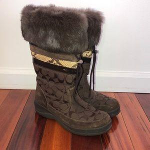 COACH Brown Monogram LORNA Brown Fur Snow Boots
